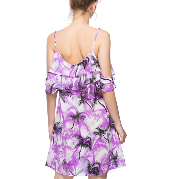 Flounce Cold Shoulder Floral Mini Dress