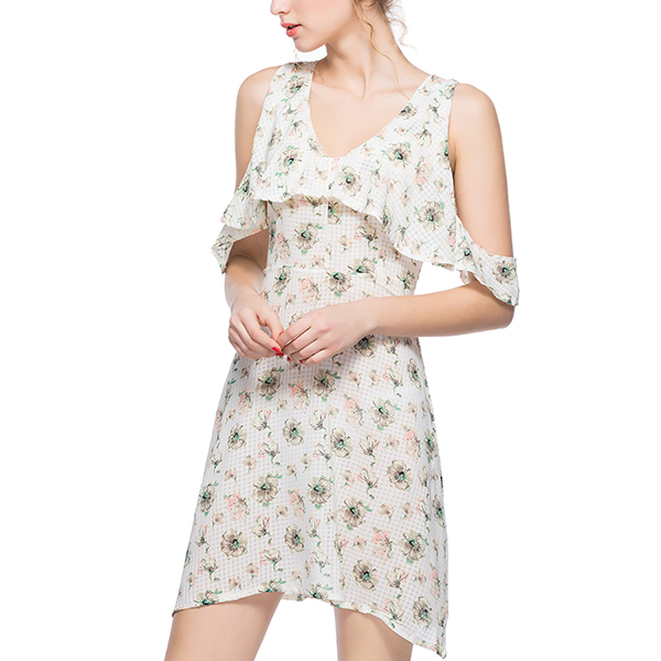 Hanging Sleeves Round Neck White Printed Dress
