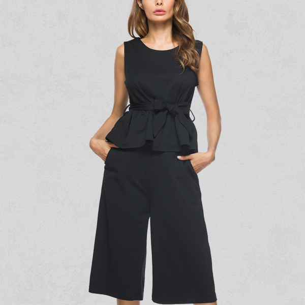 Two Pieces Waist Band Casual Dress - Black