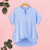 Dip Hem Summer Short Sleeves Top - Blue
