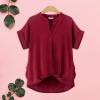 Dip Hem Summer Short Sleeves Top - Burgundy