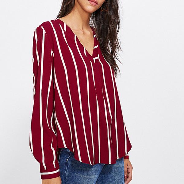 Stripes V Neck Full Sleeves Shirt - Burgundy