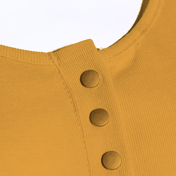 Deep Neck Tich Buttoned Simple Top - Yellow