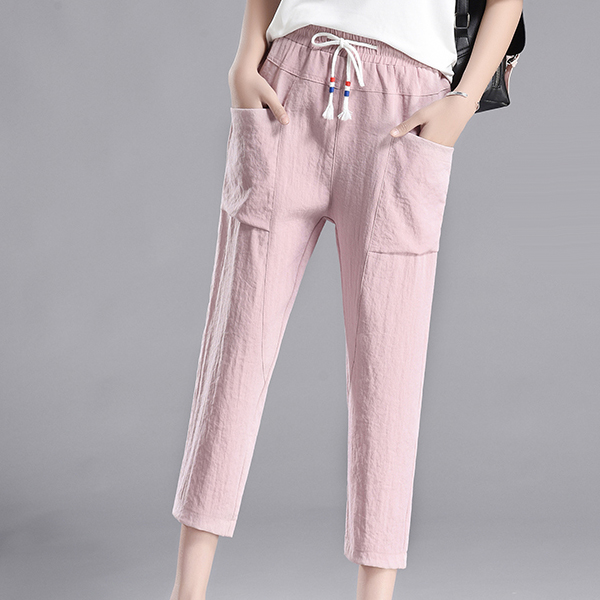 String Waist Two Pocket Casual Trouser - Pink