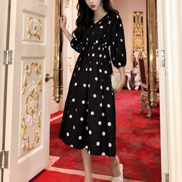 Polka Dots V Neck Waist Belt Midi Dress - Black
