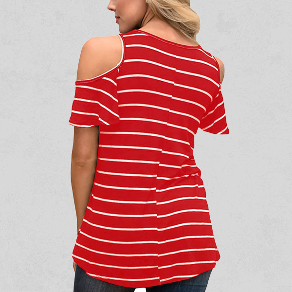 Cold Shoulder Round Neck Striped Top - Red