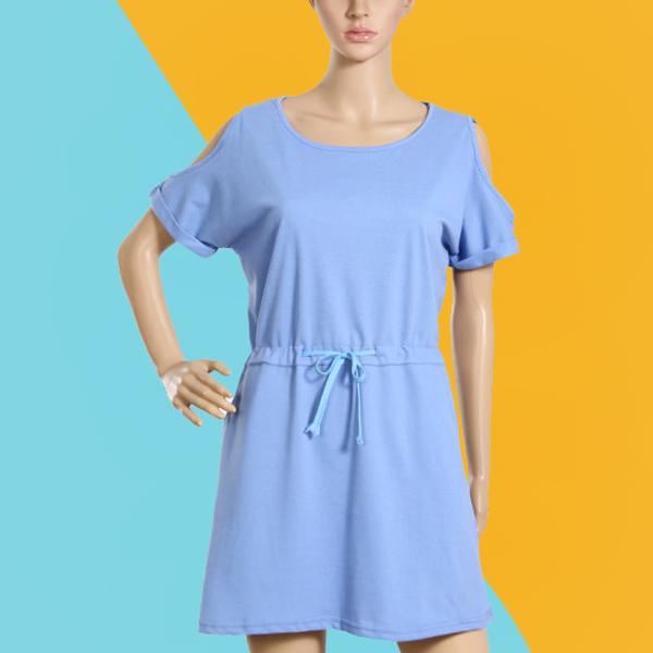 Plain Waist String Mini Casual Dress