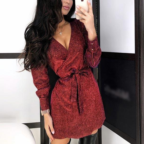 Sequin Pattern V-neck Party Prom Belt Dress - Burgundy
