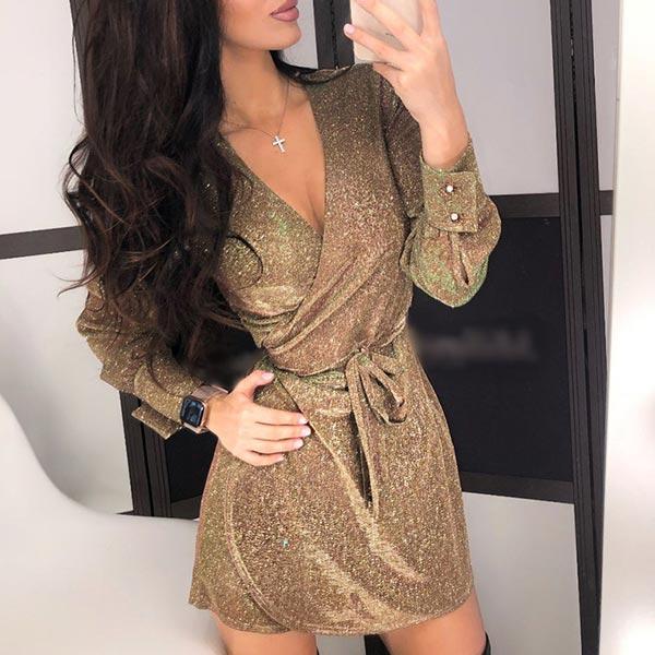 Sequin Pattern V-neck Party Prom Belt Dress - Golden