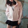 Drawstring Hoodie Zipper Closure Jacket - Pink