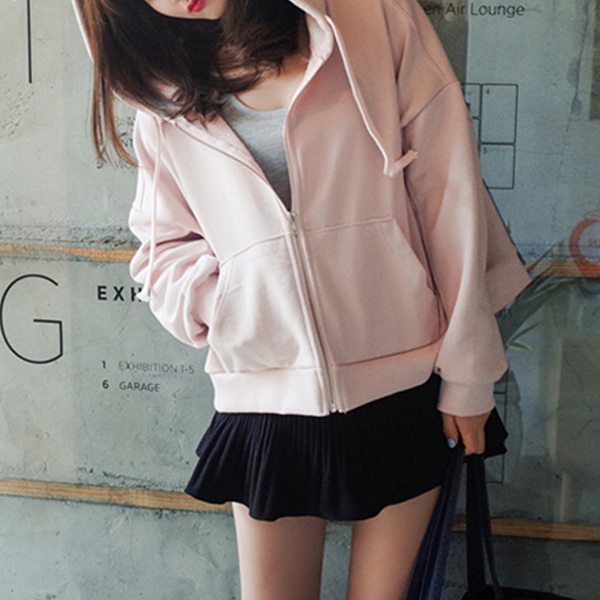 Drawstring Hoodie Zipper Closure Jacket - Pink