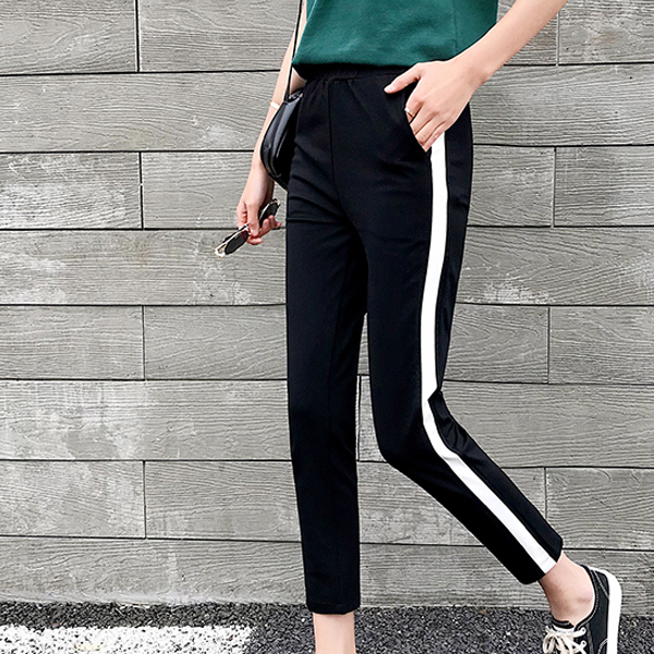 Line Contrast Casual Sports Trouser - White