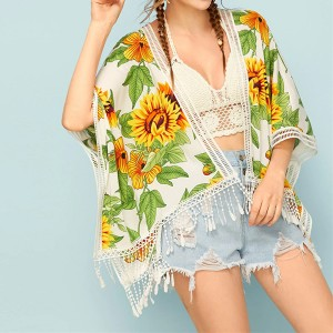 Floral Summer Wear Printed Loose Cardigan