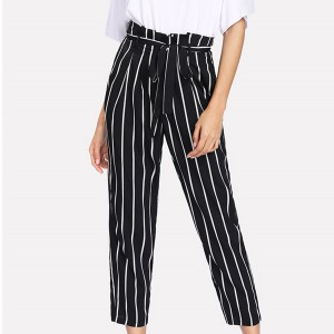 Waist Belt Striped Casual Trouser - Black And White