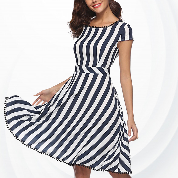 Boat Neck Striped Decorated Hem Mini Dress