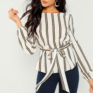 Waist Belt Striped Boat Neck Blouse Shirt