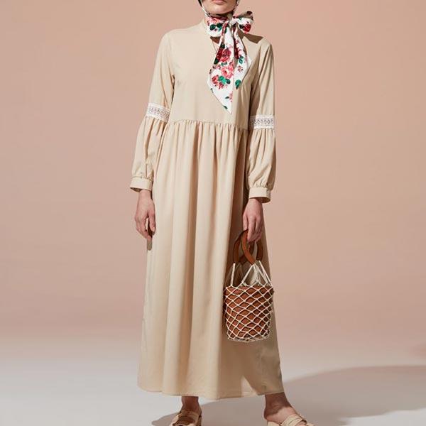 Cotton Lace Stitching Long-sleeved Women Dress - Apricot