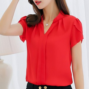 Stand Collar V Neck Pleated Blouse Shirt - Red