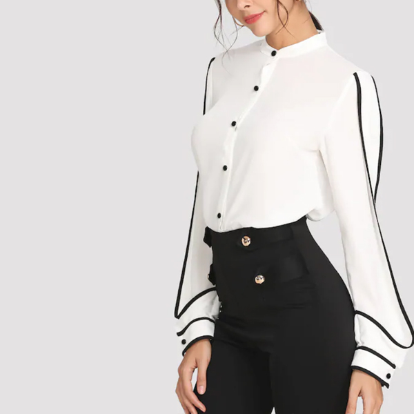 Stand Collar Binding Contrast Plain Shirt - White