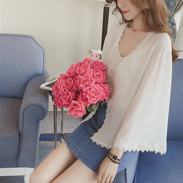 Lace Patch Light Fabric Chiffon Cardigan - White