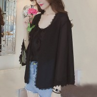 Lace Patch Light Fabric Chiffon Cardigan - Black