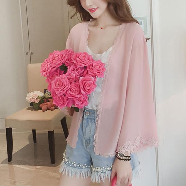 Lace Patch Light Fabric Chiffon Cardigan - Pink