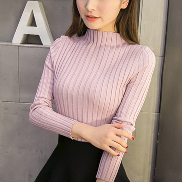 Stand Neck Ribbed Full Sleeved T-Shirt - Pink