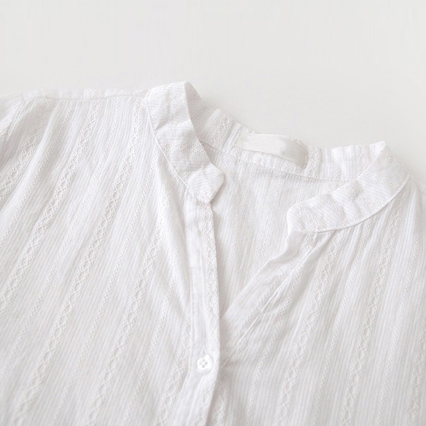 Ruffle Hem Frilled Solid White Blouse Shirt
