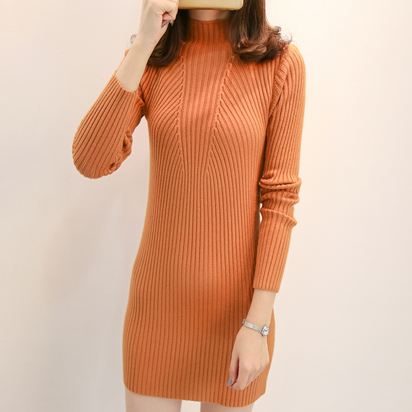 Stand Collar Ribbed Long Sleeves Mini Dress - Apricot