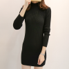Stand Collar Ribbed Long Sleeves Mini Dress - Black