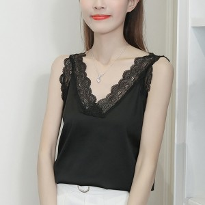 Silk Lace Patched Sleeveless Blouse Shirt - Black
