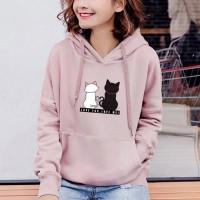 Cats Printed Loose Long-sleeved Women Hoodies - Pink