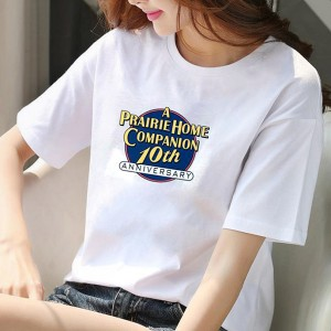 Printed Graphical Round Neck Summer Special Women T-Shirts - White