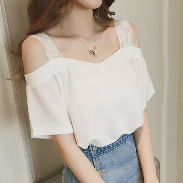Cold Shoulder Lace Solid Summer Wear Top - White