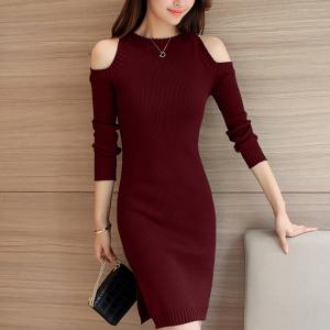 Ribbed Cold Shoulder Round Neck Mini Dress - Burgundy