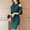 Ribbed Cold Shoulder Round Neck Mini Dress - Green