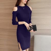Ribbed Cold Shoulder Round Neck Mini Dress - Blue