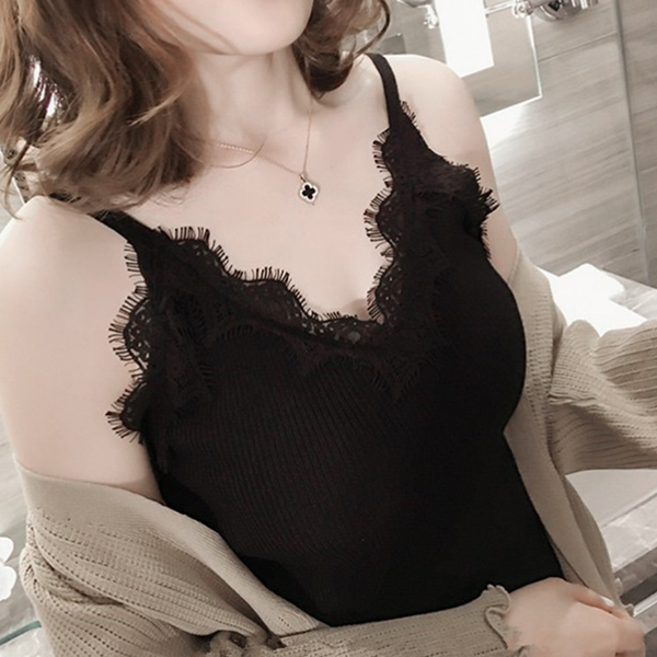 Ribbed Pattern Strap Shoulder Lace Blouse Top - Black