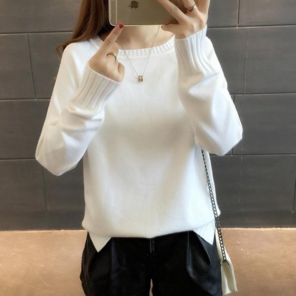 Boat Neck Free Size Full Sleeves T-Shirt - White