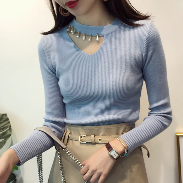Pearl Decorative Full Sleeves Blouse T-Shirt - Blue