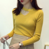 Pearl Decorative Full Sleeves Blouse T-Shirt - Yellow