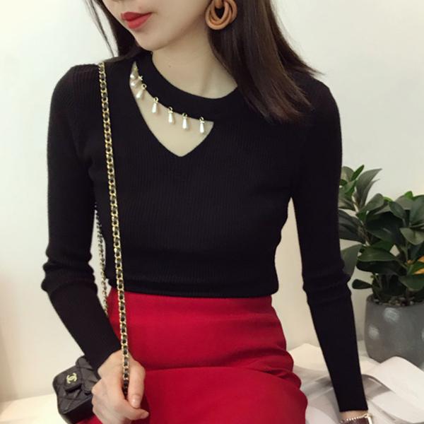 Pearl Decorative Full Sleeves Blouse T-Shirt - Black