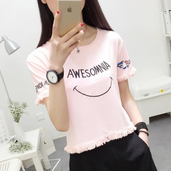 Printed Tassel Casual Wear Mini T-Shirt - Pink