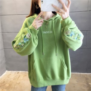 Loose Hoodie Thread Text Duo Pocket Hoodie - Green