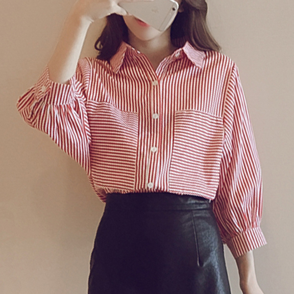 Pleated Stripes Front Pockets Formal Shirt - Red