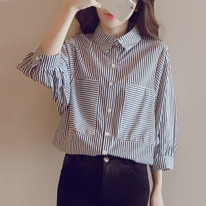 Pleated Stripes Front Pockets Formal Shirt - Blue