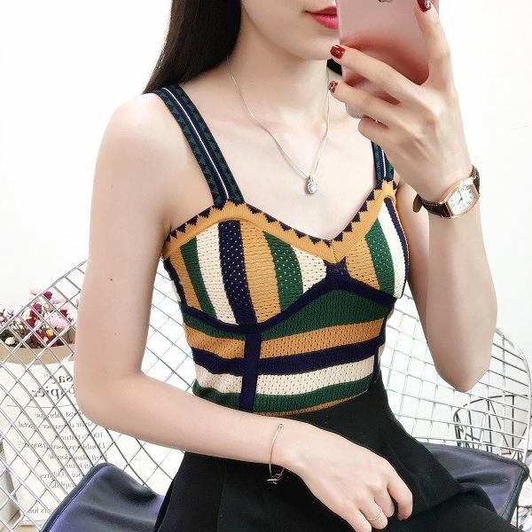 Retro Striped Summer Wear Sleeveless Vest Top - Yellow