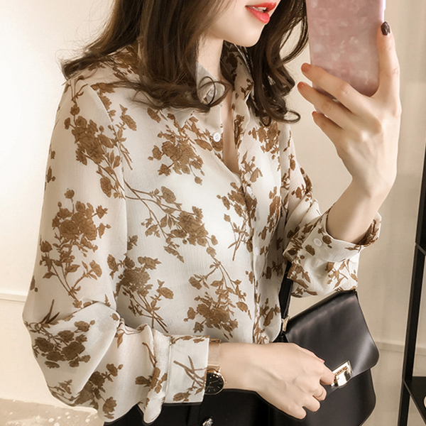 Floral Prints Stand Neck Loose Shirt - Beige