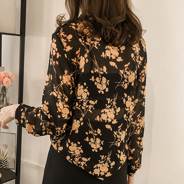 Floral Prints Stand Neck Loose Shirt - Black