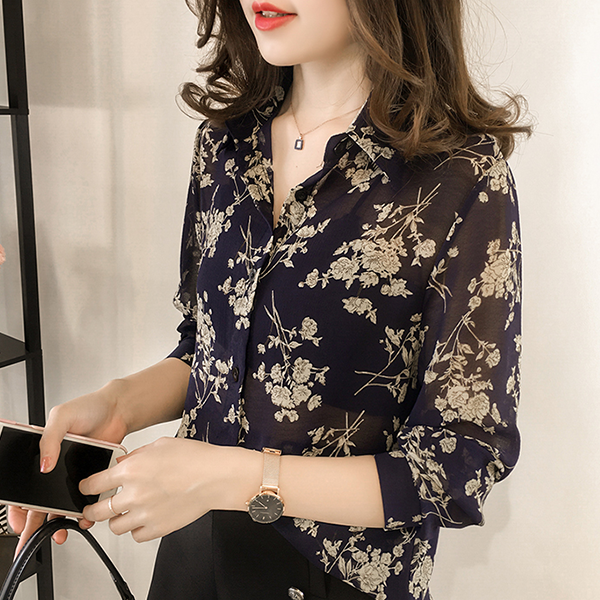 Floral Prints Stand Neck Loose Shirt - Blue